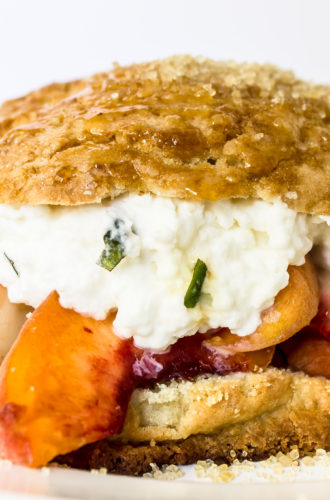brown sugar peach shortcakes with basil whipped cream