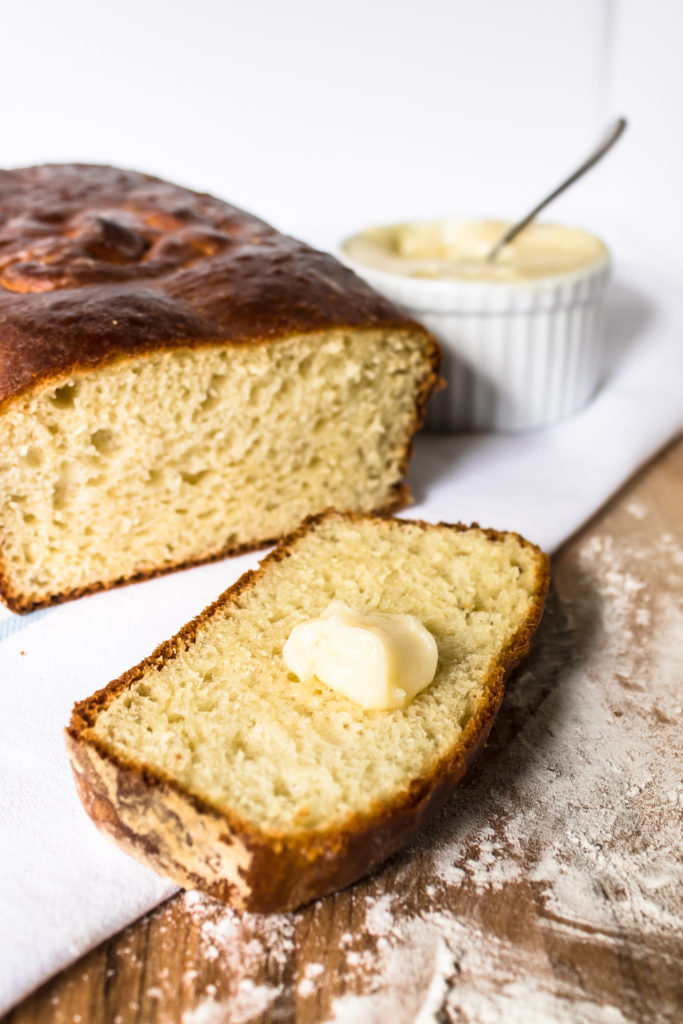 This delicious, soft and slightly sweet Sally Lunn bread with easy honey butter is a great stepping stone to yeasted baked goods.