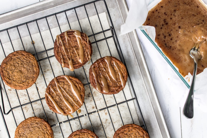 chewy ginger cookies with apple cider caramel