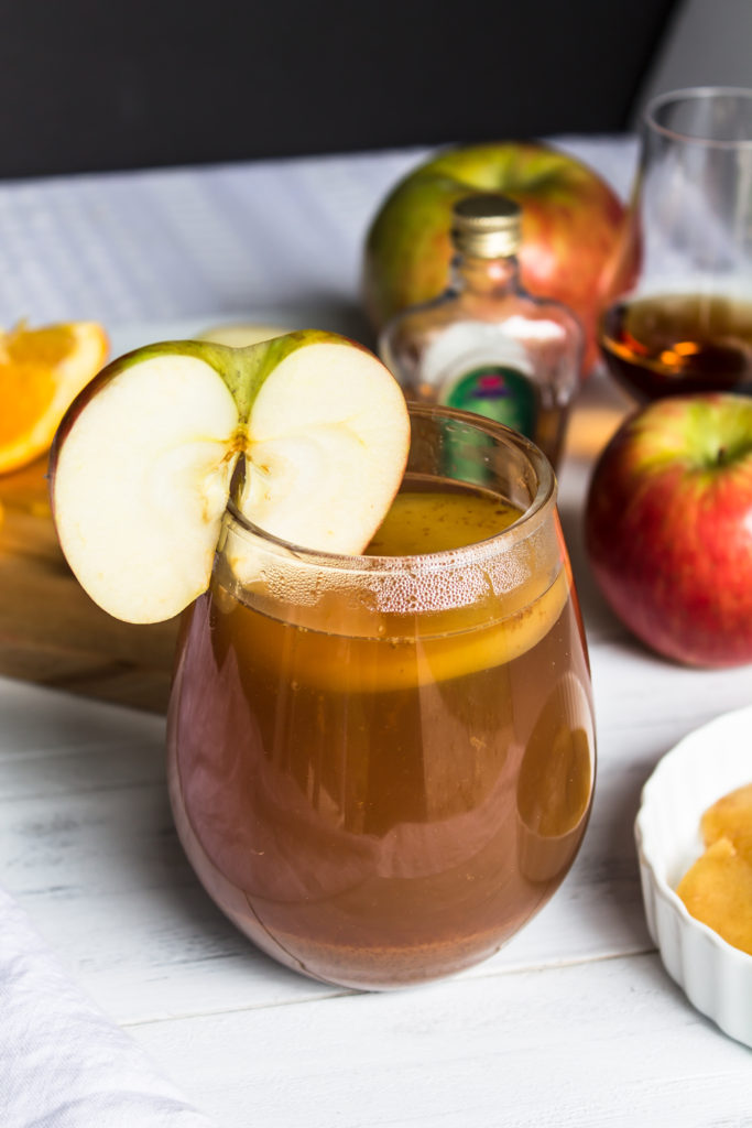 This spiked hot apple cider is perfect drink to warm you up on a cool night.