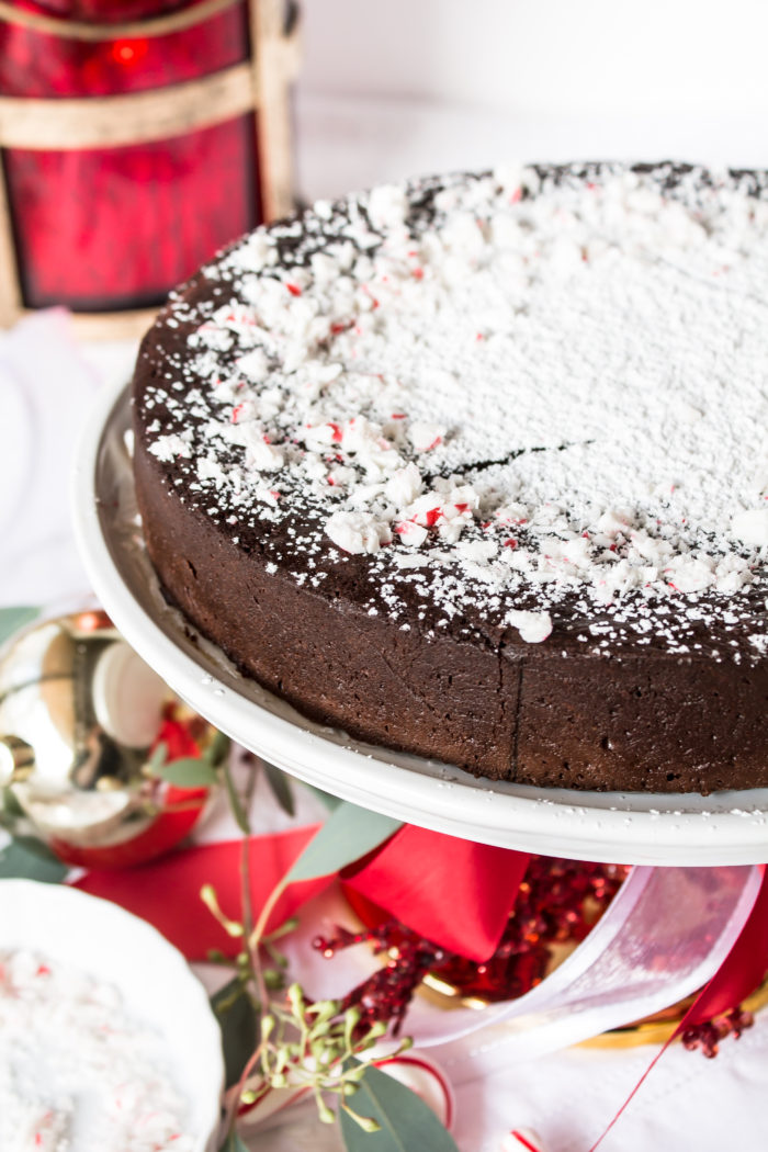 flourless chocolate cake with peppermint whipped cream