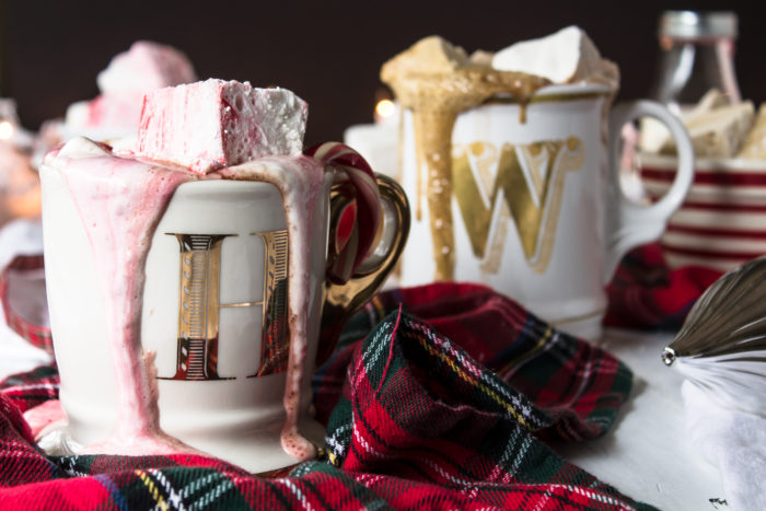adult hot chocolate with peppermint, gingerbread and eggnog marshmallows