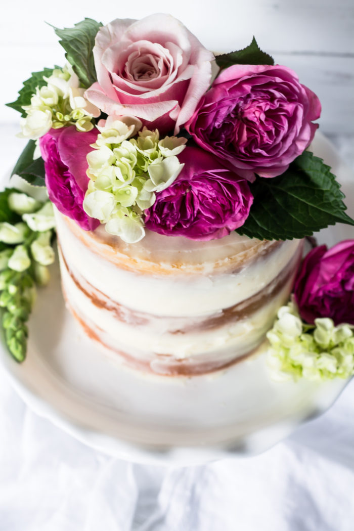champagne cake with rose buttercream
