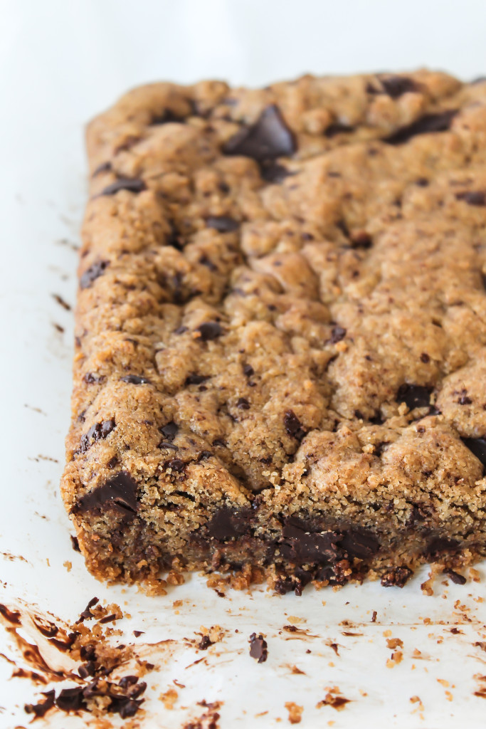 Warm chocolate chip cookie bars are the best and easiest comfort food!