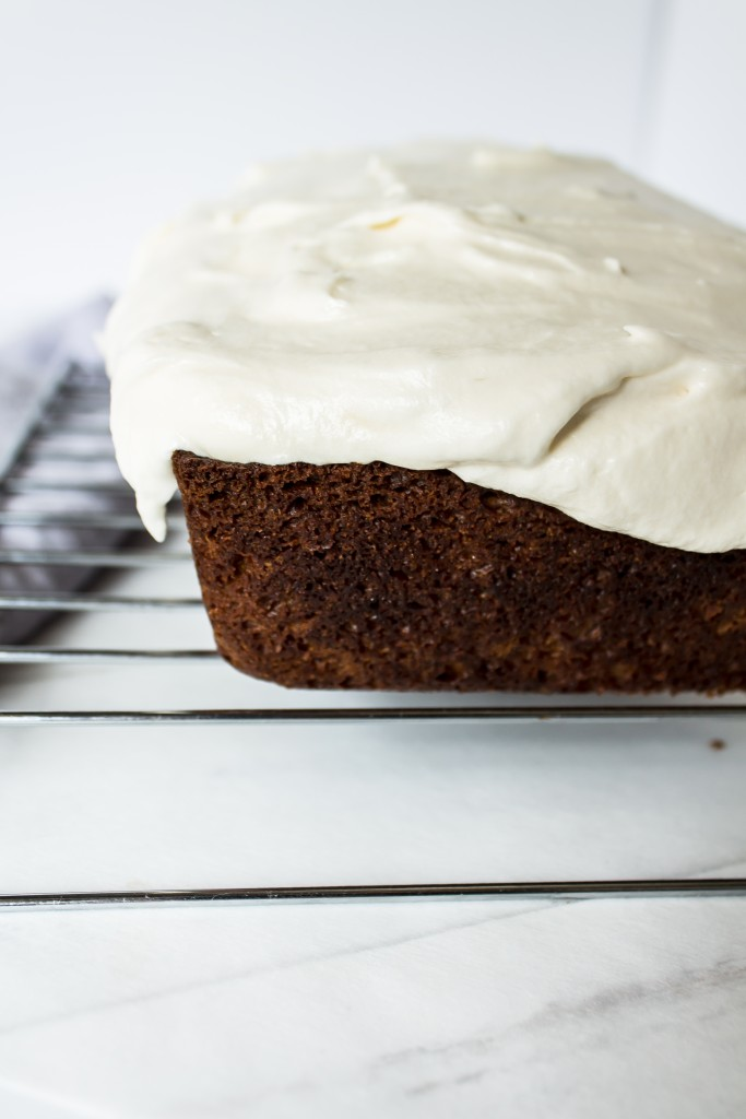 Carrot cake loaf with nutella swirled cream cheese frosting is the perfect breakfast, snack and dessert this Easter and this spring.  It's basically vegetable bread, right?