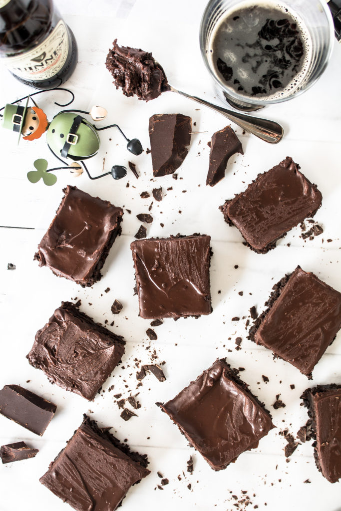 Guinness brownies with Irish cream ganache frosting are the perfect treat for this St. Patrick's day!