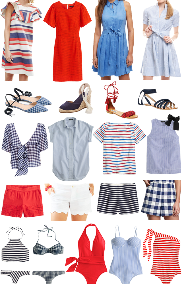 red, white and blue outfits