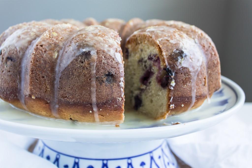 Blueberry Bundt with Streusel and Lemon Glaze | passthecookies.com