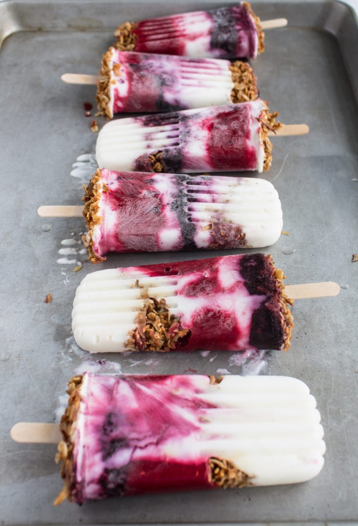 berry granola breakfast popsicles