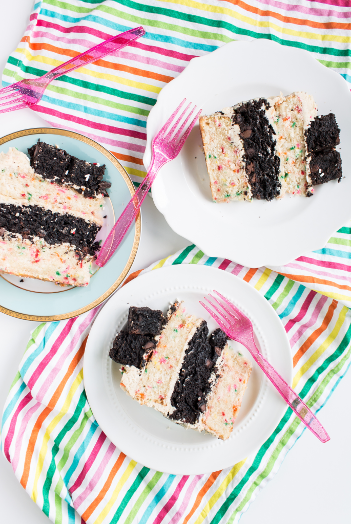Funfetti Brownie Cake with Cookie Dough Frosting-11