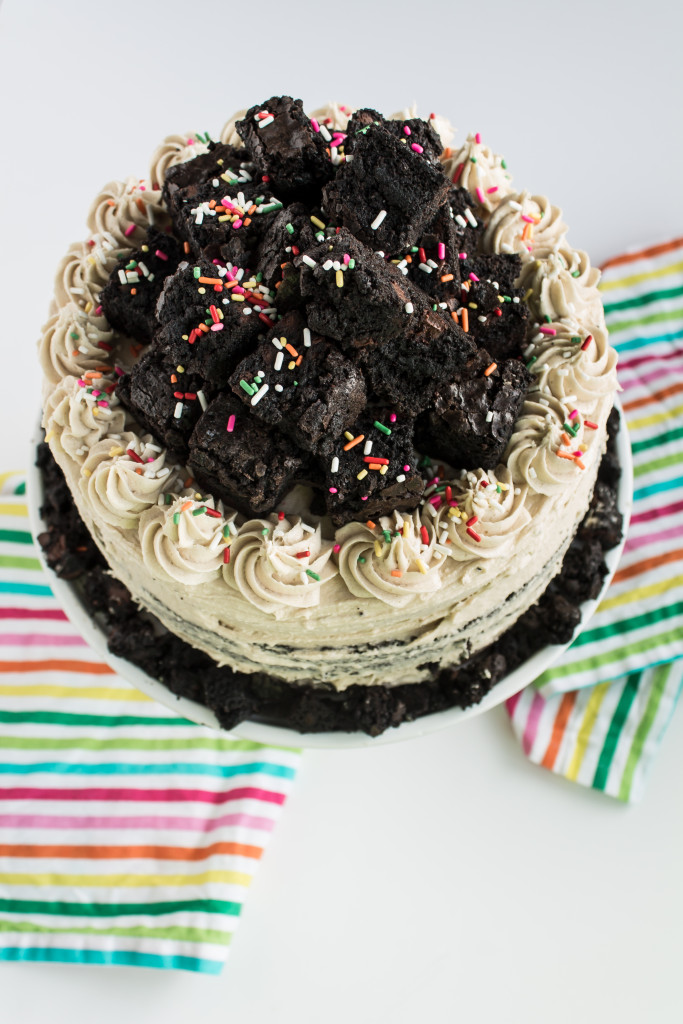 Funfetti Brownie Cake with Cookie Dough Frosting-6