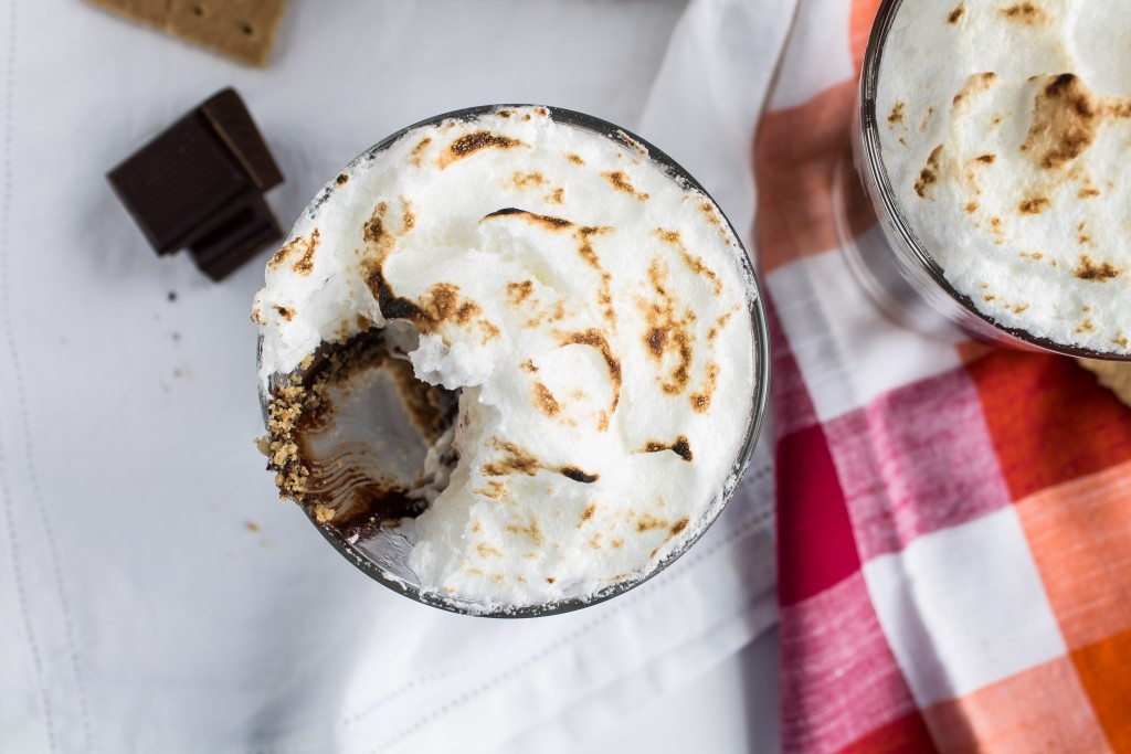 S'mores parfait with graham cracker streusel, chocolate custard and toasted meringue. | passthecookies.com