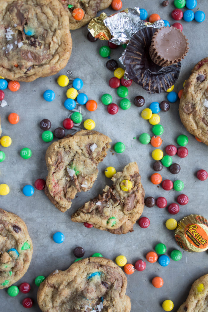 m&m and reese's swirled sea salt cookies
