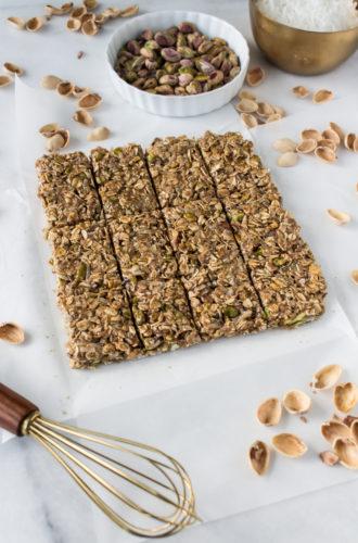 pistachio coconut granola bars
