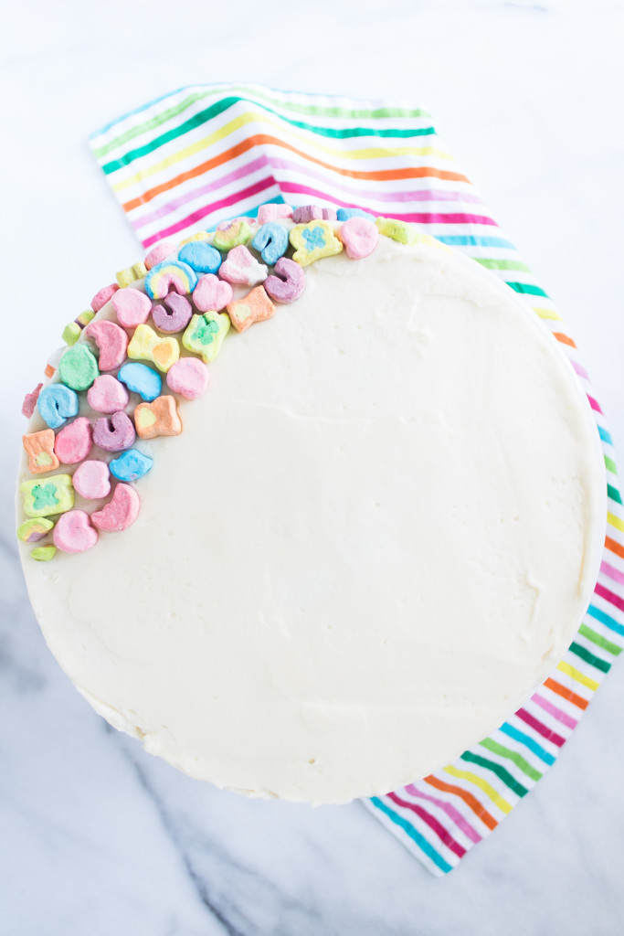Cereal Milk Cake with Lucky Charms Filling | www.passthecookies.com