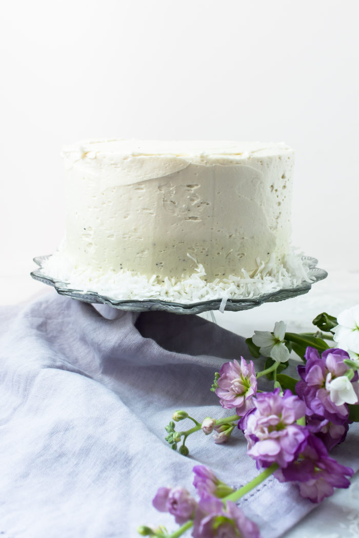 coconut cake with earl grey buttercream