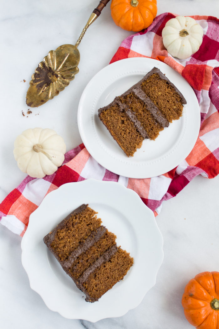 pumpkin cake with fluffy chocolate frosting