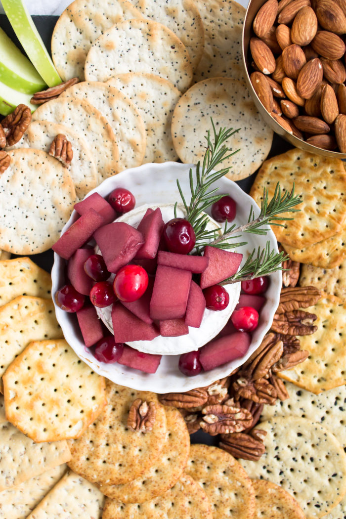 baked brie with mulled wine-soaked fruit