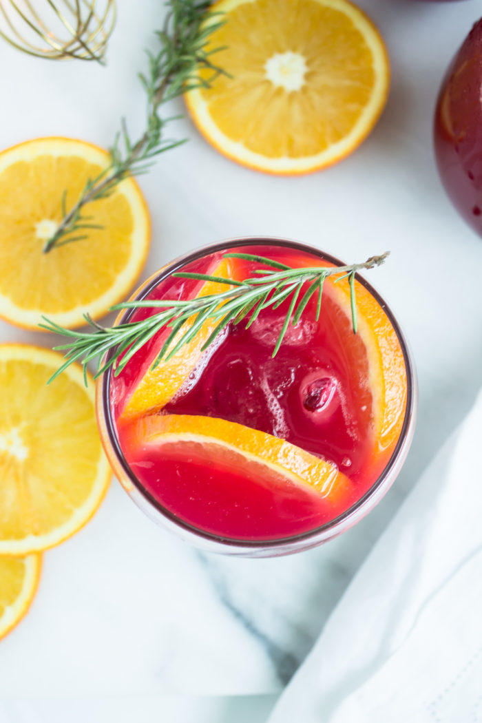 sparkling pomegranate punch cocktails