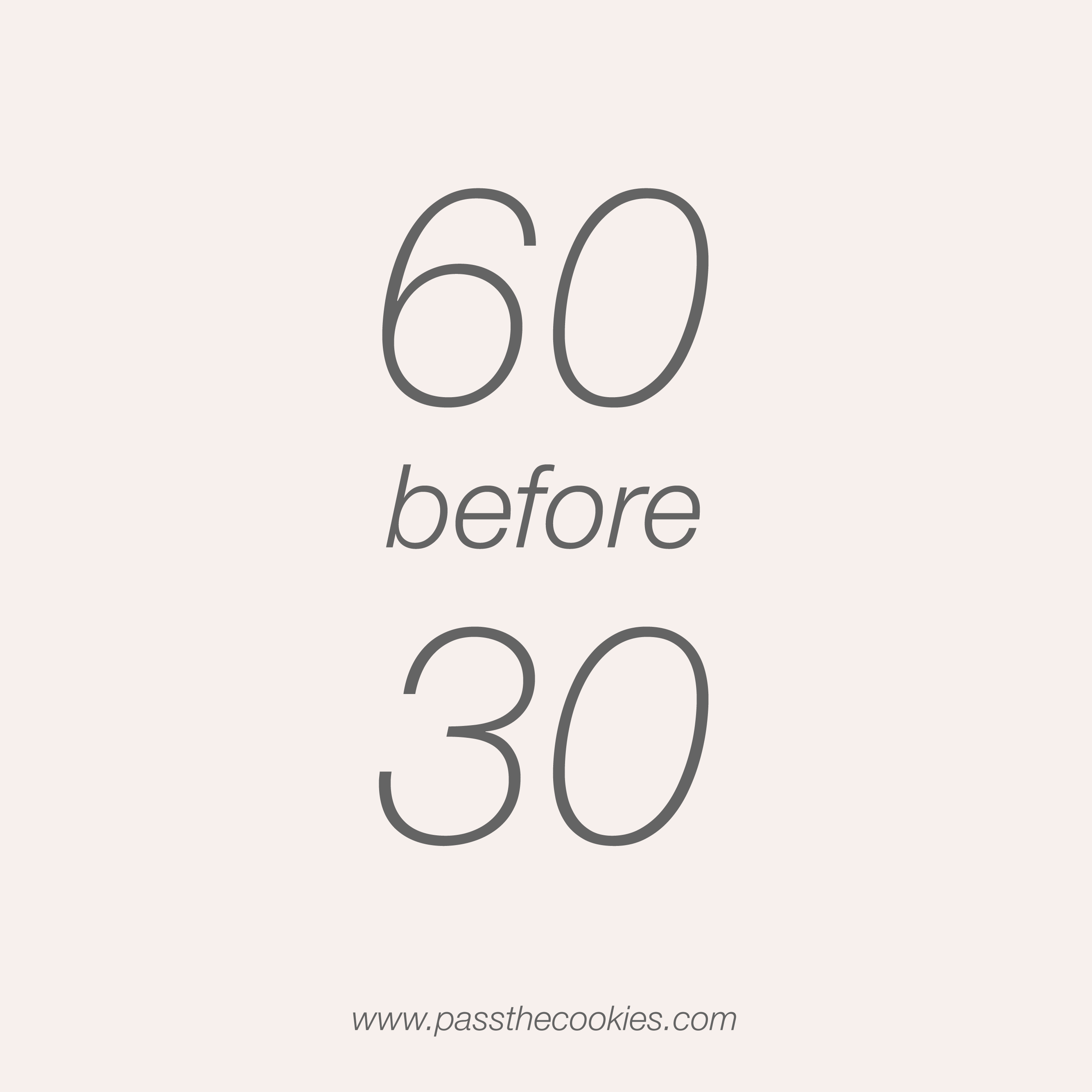 60 before 30 update | Pass the Cookies | www.passthecookies.com