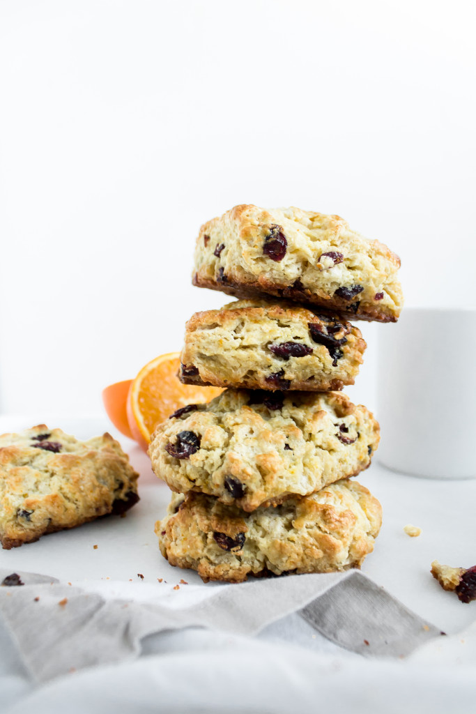Orange cranberry scones are flaky, buttery, and moist with a fresh citrus flavor and the perfect amount of sweetness from dried cranberries.