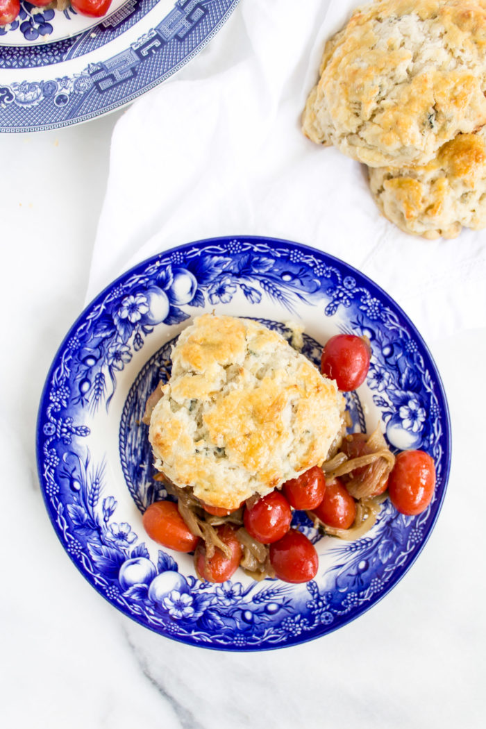 caramelized onion blue cheese biscuits with roasted tomatoes