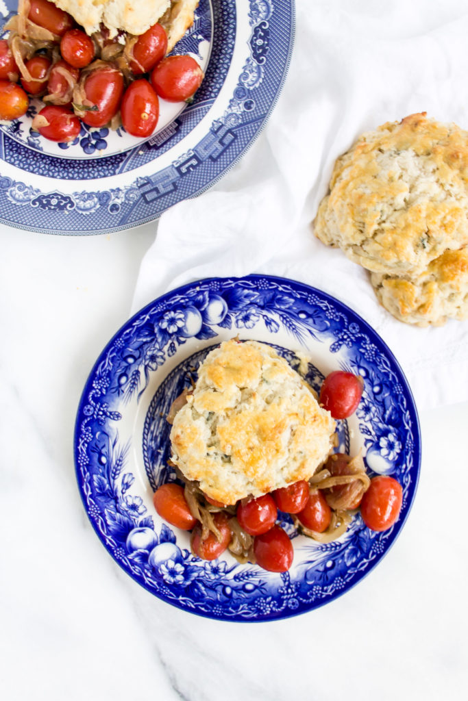 Caramelized Onion Blue Cheese Biscuits with Roasted Tomatoes | Pass the Cookies | www.passthecookies.com