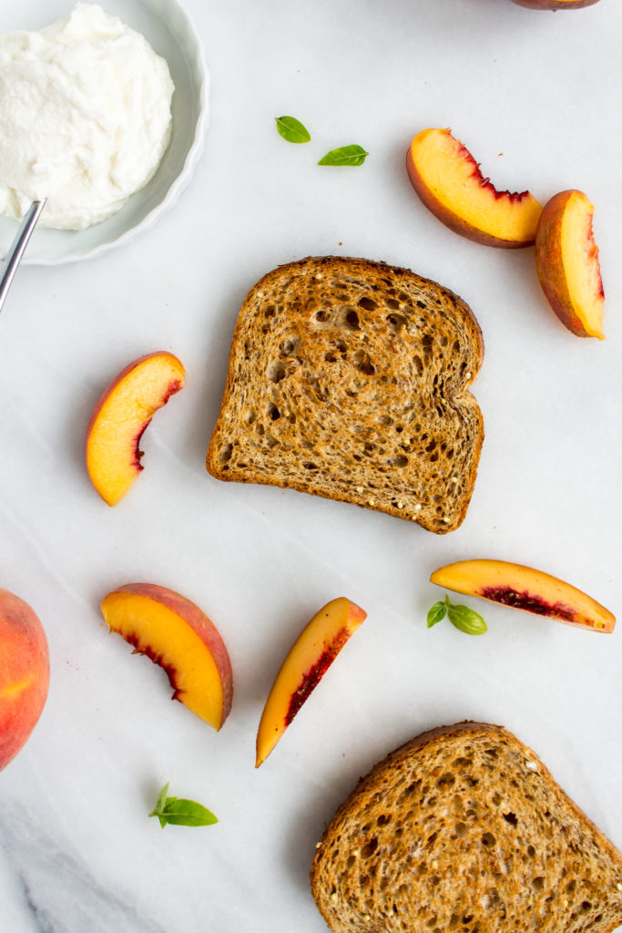Peach, Basil, Honey, and Whipped Ricotta Toast | Pass the Cookies | www.passthecookies.com