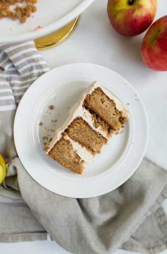 apple cake with apple cider soak, brown butter crumble, and cinnamon frosting