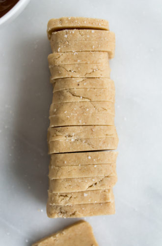 almond butter shortbread with chocolate and sea salt