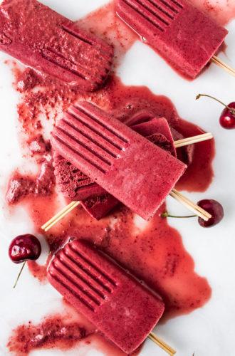 cherry frozen yogurt popsicles