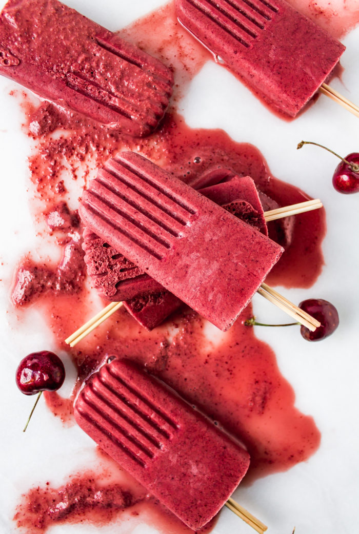 cherry frozen yogurt popsicles