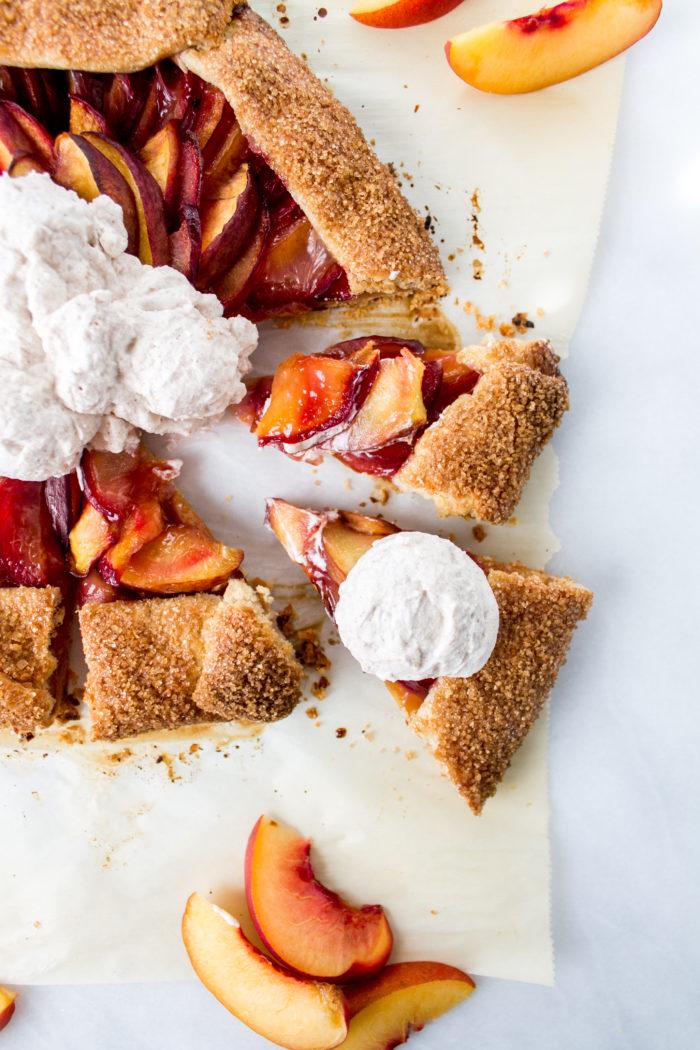 plum & peach galette with cinnamon whipped cream