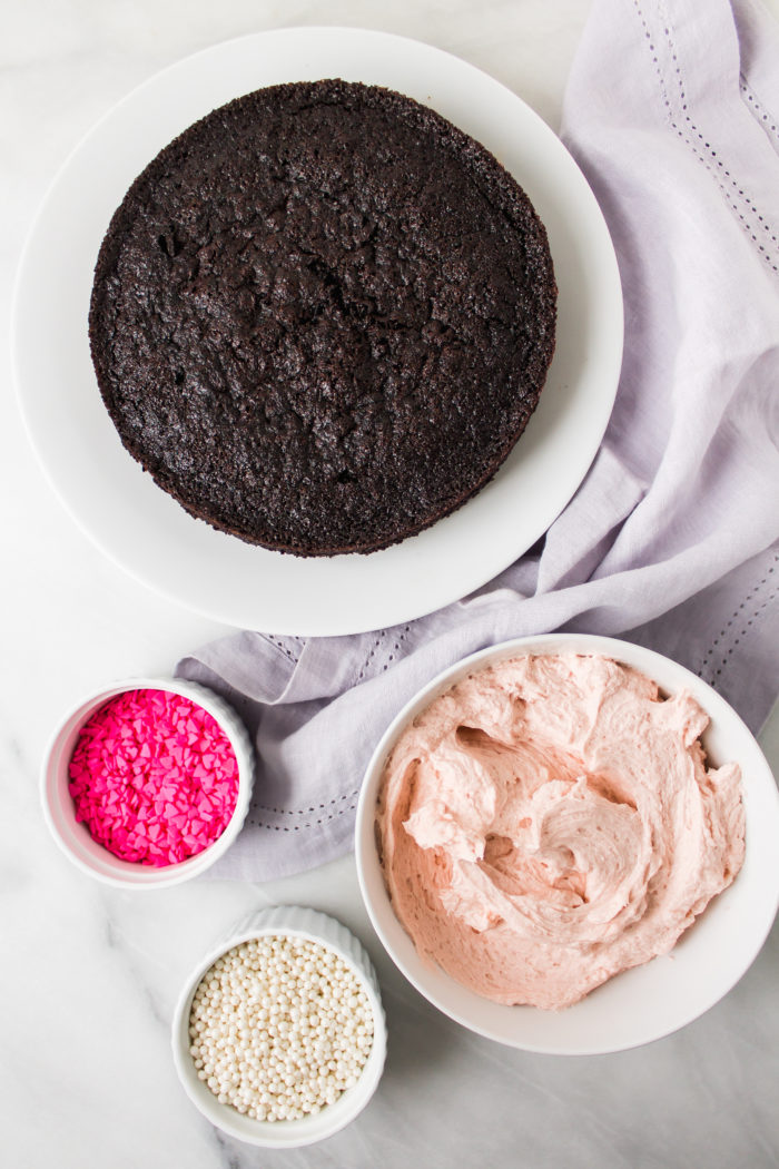 one-bowl chocolate cake with fluffy buttercream frosting